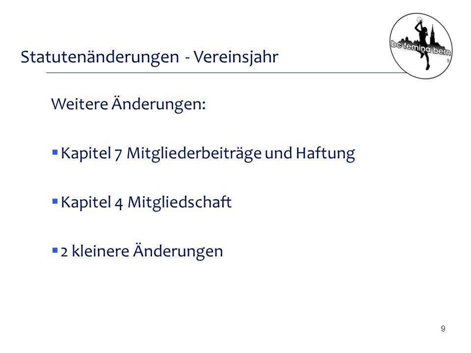 Statutenänderungen - Vereinsjahr  Artikel 9.1 bisher: Das Vereinsjahr dauert vom 1.
