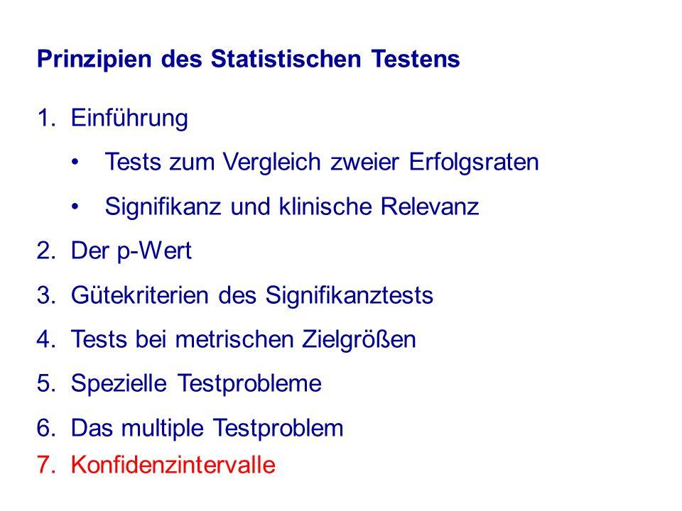 Prinzipien des Statistischen Testens 1.Einführung Tests zum Vergleich zweier Erfolgsraten Signifikanz und klinische Relevanz 2.Der p-Wert 3.Gütekriterien des Signifikanztests 4.Tests bei metrischen Zielgrößen 5.Spezielle Testprobleme 6.Das multiple Testproblem 7.Konfidenzintervalle