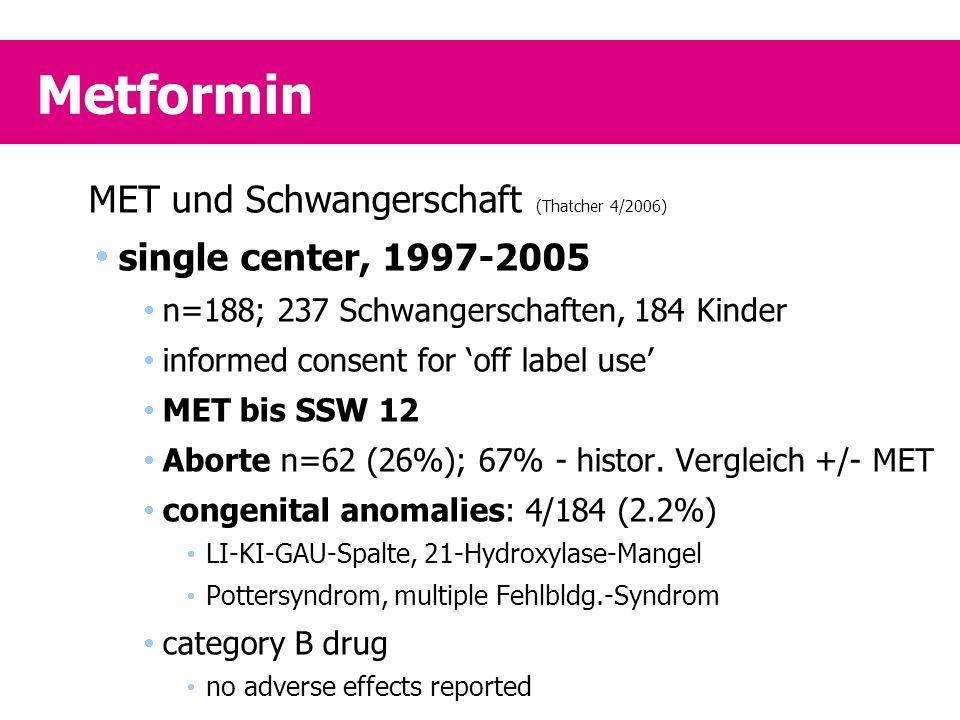 Metformin MET und Schwangerschaft (Thatcher 4/2006)  single center, 1997-2005  n=188; 237 Schwangerschaften, 184 Kinder  informed consent for 'off label use'  MET bis SSW 12  Aborte n=62 (26%); 67% - histor.