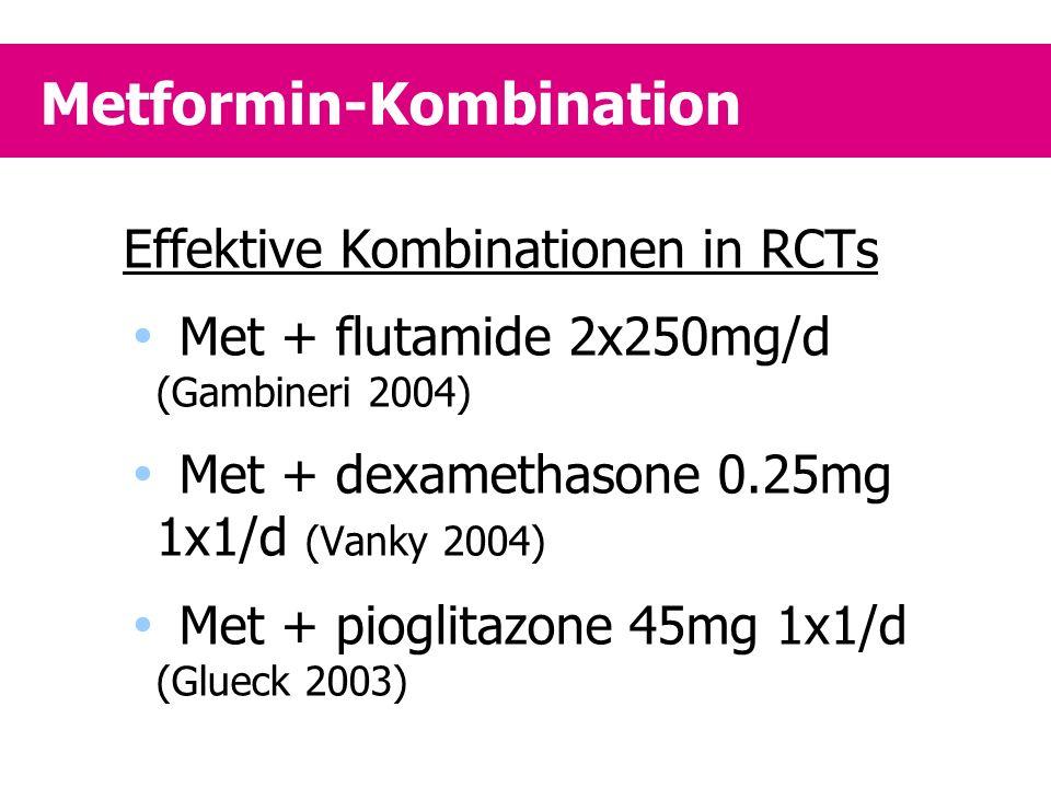 Metformin-Kombination Effektive Kombinationen in RCTs  Met + flutamide 2x250mg/d (Gambineri 2004)  Met + dexamethasone 0.25mg 1x1/d (Vanky 2004)  M