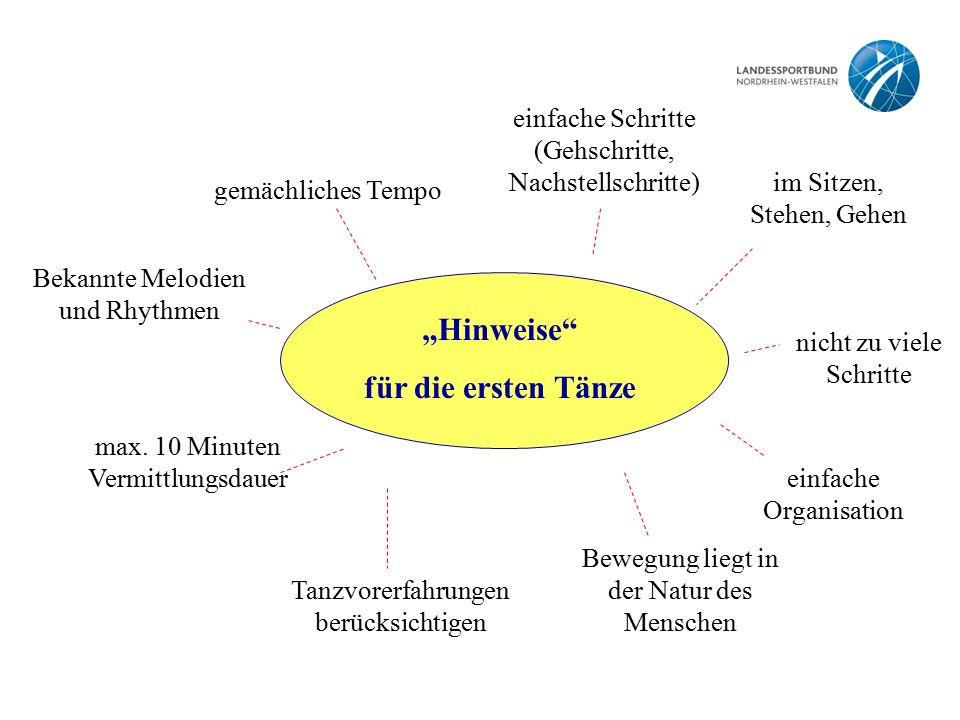 """""""Hinweise"""" für die ersten Tänze einfache Schritte (Gehschritte, Nachstellschritte) im Sitzen, Stehen, Gehen gemächliches Tempo max. 10 Minuten Vermitt"""