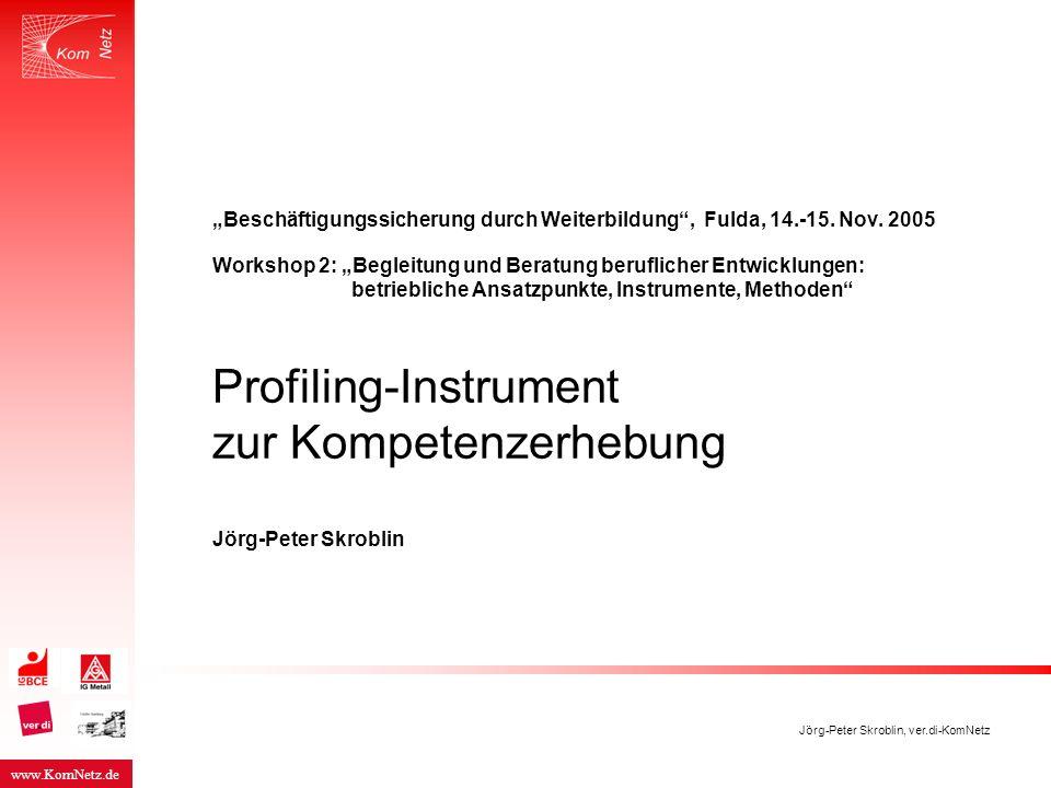 """www.KomNetz.de Jörg-Peter Skroblin, ver.di-KomNetz """"Beschäftigungssicherung durch Weiterbildung"""", Fulda, 14.-15. Nov. 2005 Workshop 2: """"Begleitung und"""