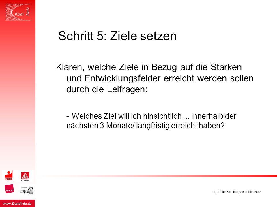 www.KomNetz.de Jörg-Peter Skroblin, ver.di-KomNetz Schritt 5: Ziele setzen Klären, welche Ziele in Bezug auf die Stärken und Entwicklungsfelder erreic
