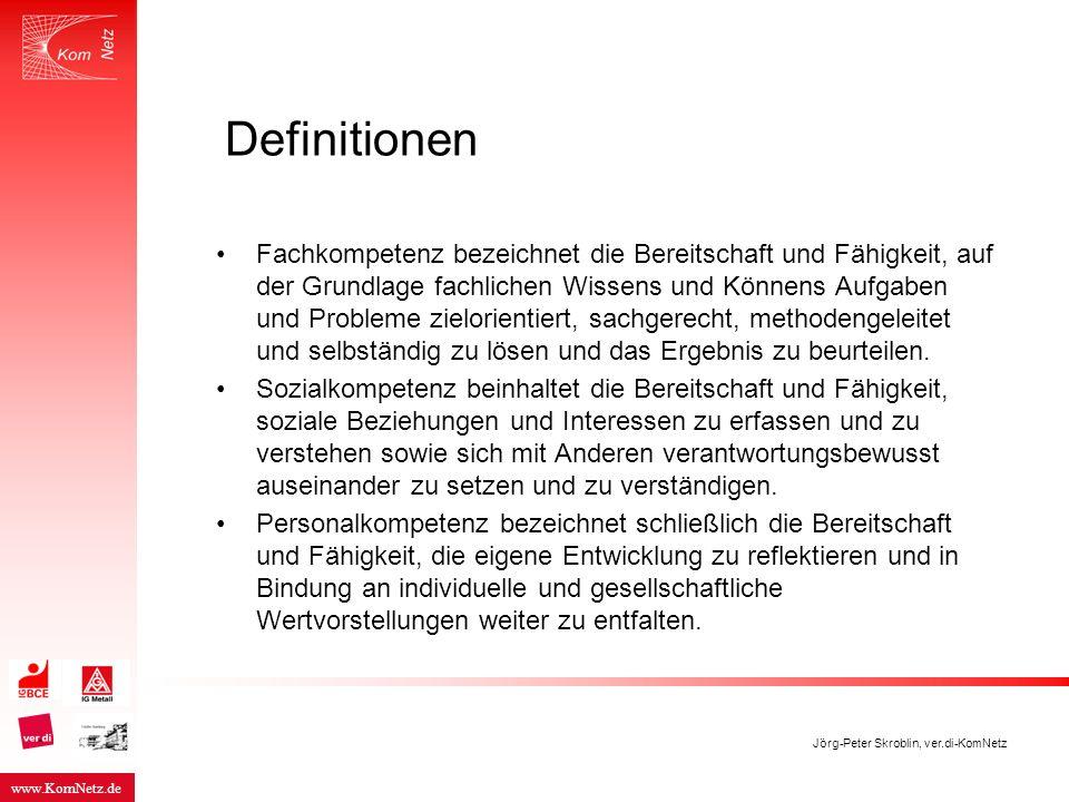 www.KomNetz.de Jörg-Peter Skroblin, ver.di-KomNetz Definitionen Fachkompetenz bezeichnet die Bereitschaft und Fähigkeit, auf der Grundlage fachlichen