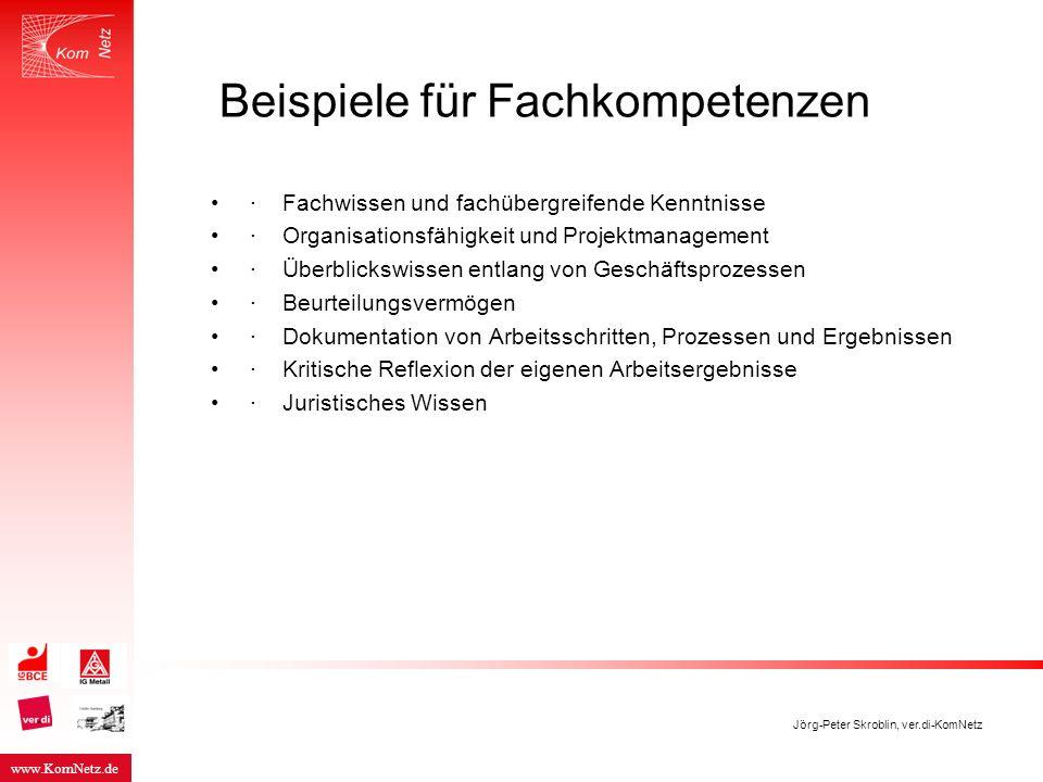 www.KomNetz.de Jörg-Peter Skroblin, ver.di-KomNetz Beispiele für Fachkompetenzen · Fachwissen und fachübergreifende Kenntnisse · Organisationsfähigkei