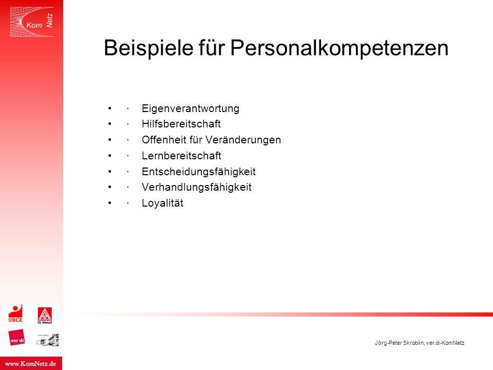 www.KomNetz.de Jörg-Peter Skroblin, ver.di-KomNetz Beispiele für Personalkompetenzen · Eigenverantwortung · Hilfsbereitschaft · Offenheit für Veränder