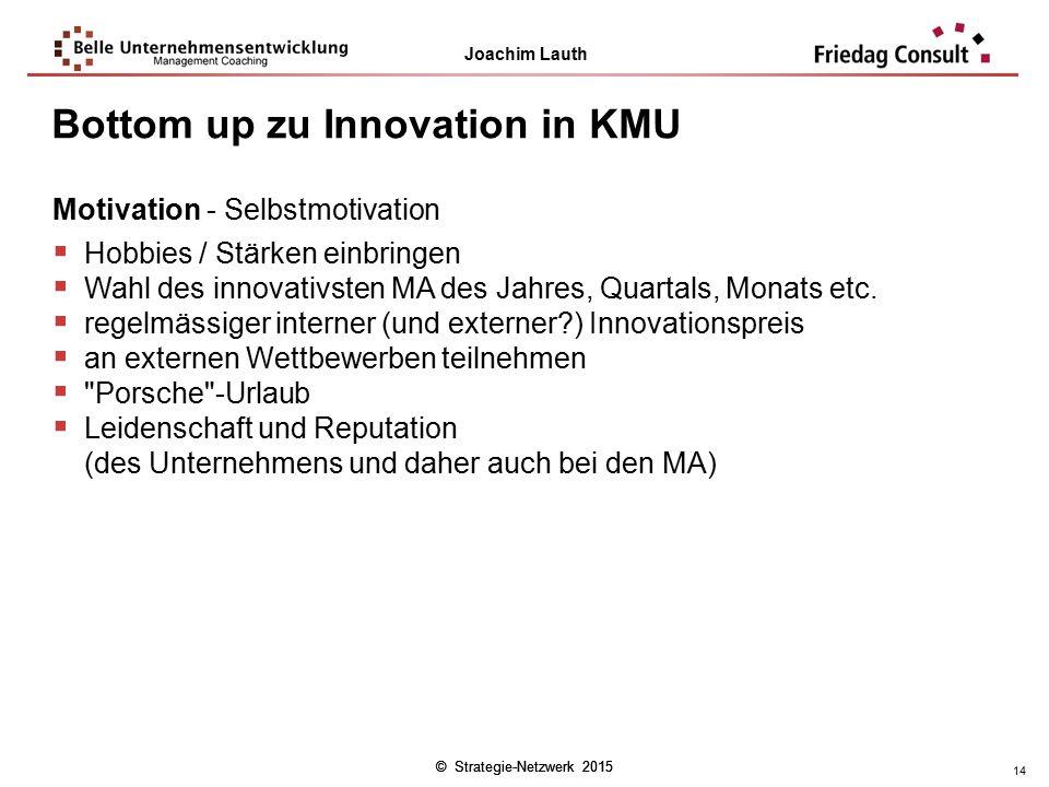 © Strategie-Netzwerk 2015 Joachim Lauth © Strategie-Netzwerk 2015 14 Motivation - Selbstmotivation  Hobbies / Stärken einbringen  Wahl des innovativ