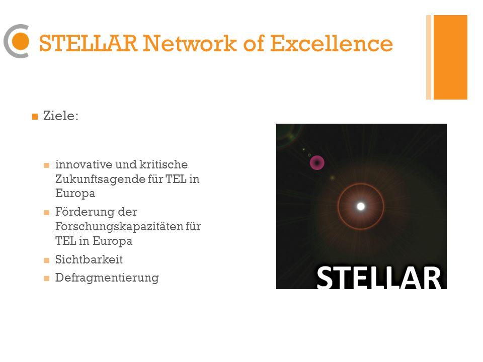 STELLAR Network of Excellence Ziele: innovative und kritische Zukunftsagende für TEL in Europa Förderung der Forschungskapazitäten für TEL in Europa Sichtbarkeit Defragmentierung