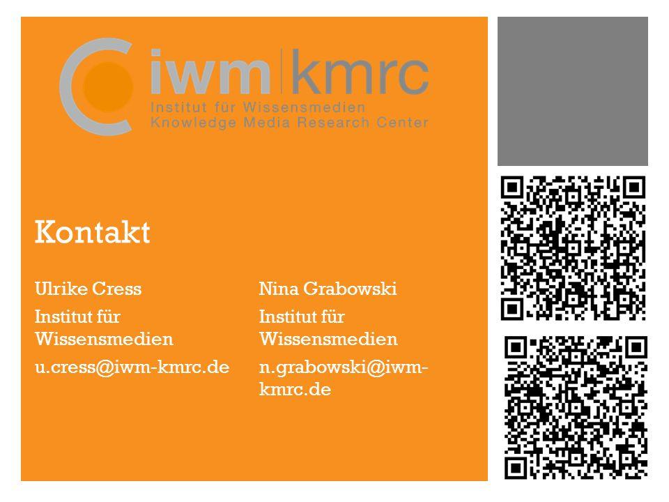 Kontakt Ulrike Cress Institut für Wissensmedien u.cress@iwm-kmrc.de Nina Grabowski Institut für Wissensmedien n.grabowski@iwm- kmrc.de