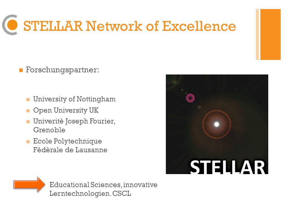 STELLAR Network of Excellence Forschungspartner: Zentrum für Soziale Innovation, Wien Know Center, Graz University of Bristol Technologie und Wissen, Wissensmanagement, Weiterbildung und Training