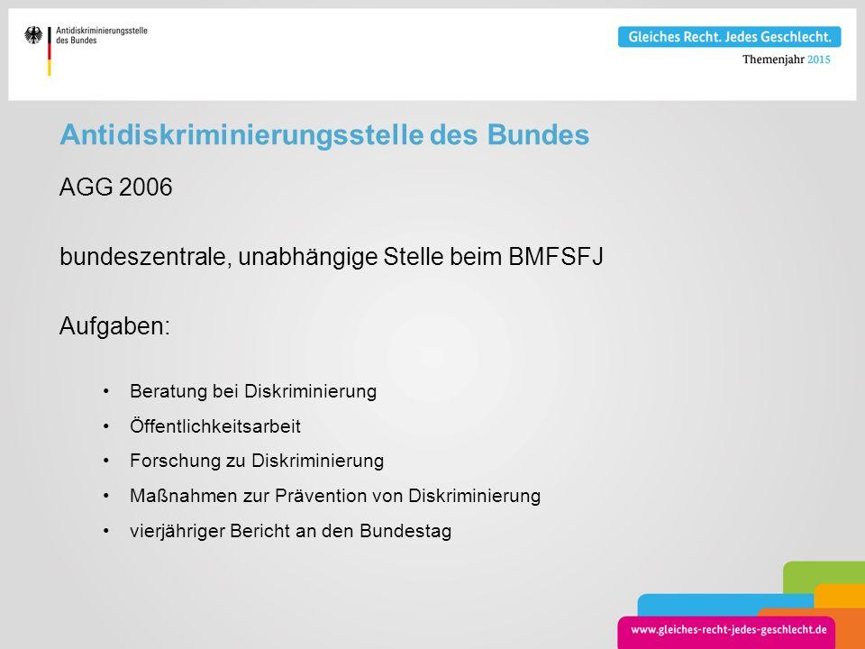 Antidiskriminierungsstelle des Bundes AGG 2006 bundeszentrale, unabhängige Stelle beim BMFSFJ Aufgaben: Beratung bei Diskriminierung Öffentlichkeitsar