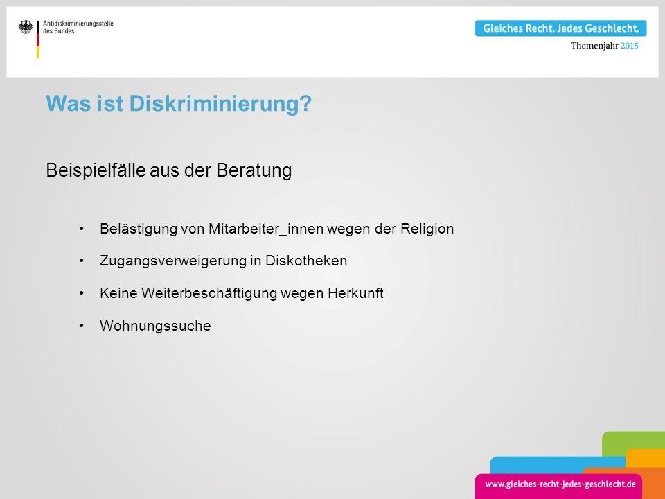 Was ist Diskriminierung? Beispielfälle aus der Beratung Belästigung von Mitarbeiter_innen wegen der Religion Zugangsverweigerung in Diskotheken Keine