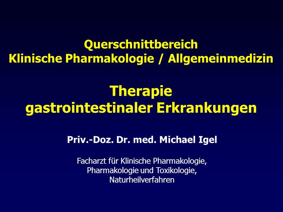 Helicobacter pylori: Reserve-Schemata Quadrupel-Therapie Tag 1 -10: PPH (2 x 1 Standarddosis) Tag 4 -10: Metronidazol (3 x 400 mg) Tetrazyklin (4 x 500 mg) Bismut (4 x 20 mg) Dauer: 10 Tage Nebenwirkungen: 80 % Therapieabbrüche: 15 % Alternative Triple Therapie PPH (2 x 1 Standarddosis) Amoxicillin (2 x 1000 mg) Rifabutin (1 x 300 mg) Dauer: 7 Tage bessere Verträglichkeit als Quadrupel-Therapie