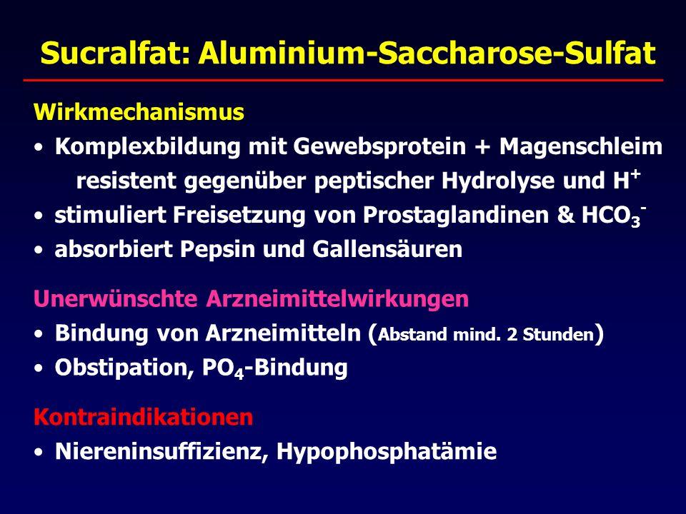 Sucralfat: Aluminium-Saccharose-Sulfat Wirkmechanismus Komplexbildung mit Gewebsprotein + Magenschleim resistent gegenüber peptischer Hydrolyse und H + stimuliert Freisetzung von Prostaglandinen & HCO 3 - absorbiert Pepsin und Gallensäuren Unerwünschte Arzneimittelwirkungen Bindung von Arzneimitteln ( Abstand mind.