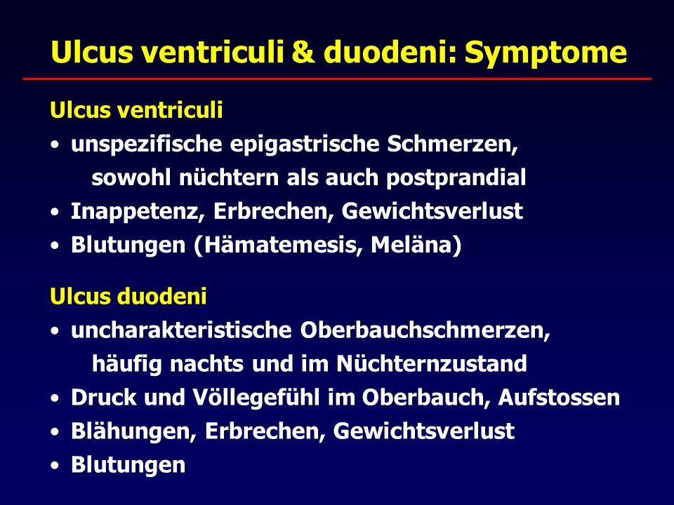Ulcus ventriculi & duodeni: Symptome Ulcus ventriculi unspezifische epigastrische Schmerzen, sowohl nüchtern als auch postprandial Inappetenz, Erbrechen, Gewichtsverlust Blutungen (Hämatemesis, Meläna) Ulcus duodeni uncharakteristische Oberbauchschmerzen, häufig nachts und im Nüchternzustand Druck und Völlegefühl im Oberbauch, Aufstossen Blähungen, Erbrechen, Gewichtsverlust Blutungen