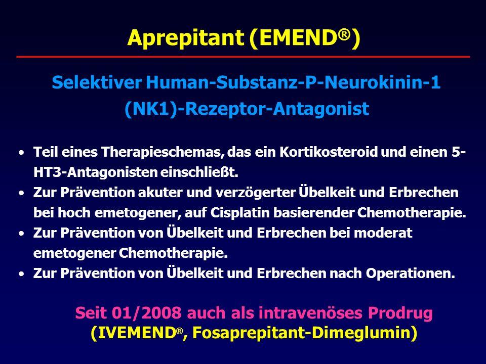 Aprepitant (EMEND ® ) Selektiver Human-Substanz-P-Neurokinin-1 (NK1)-Rezeptor-Antagonist Teil eines Therapieschemas, das ein Kortikosteroid und einen 5- HT3-Antagonisten einschließt.