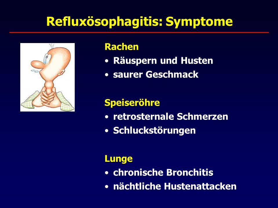 Refluxösophagitis: Pathophysiologie gestörter Verschlussmechanismus des unteren Ösophaghussphingter (UÖS) - verminderter Tonus des UÖS - abnorme Druckverläufe während des Schluckens - begünstigend: axiale Hiatushernie aggressive Refluat verursacht Schleimhautschäden chronischer Reflux führt zu Barrett-Mukosa (Verhärtung des Zylinderepithels) Präkanzerose für Barrett-Karzinom