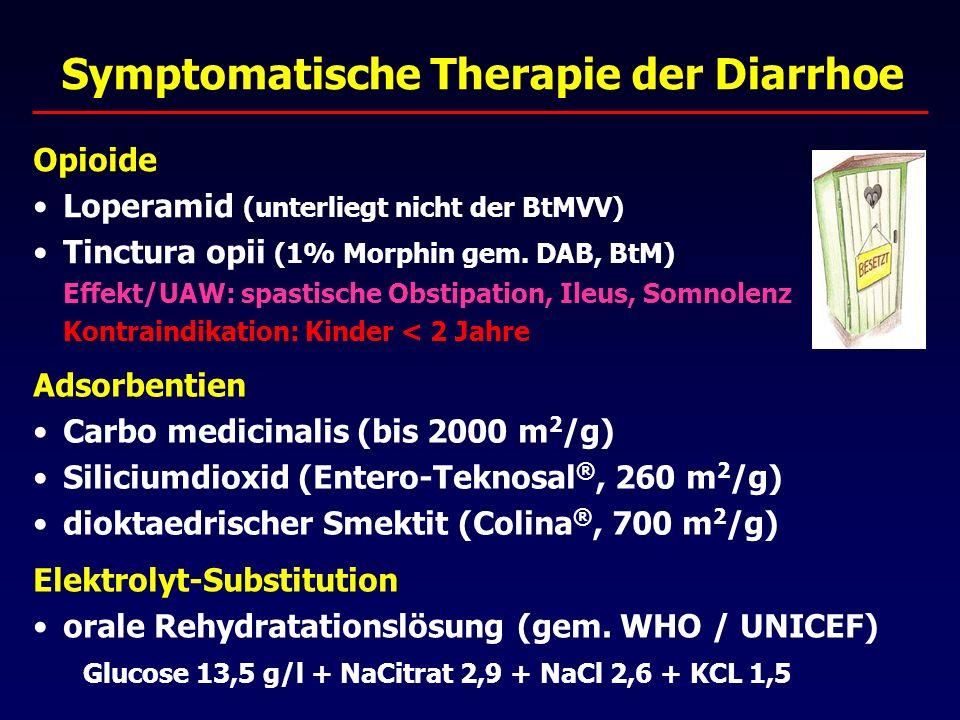 Symptomatische Therapie der Diarrhoe Adsorbentien Carbo medicinalis (bis 2000 m 2 /g) Siliciumdioxid (Entero-Teknosal ®, 260 m 2 /g) dioktaedrischer Smektit (Colina ®, 700 m 2 /g) Elektrolyt-Substitution orale Rehydratationslösung (gem.