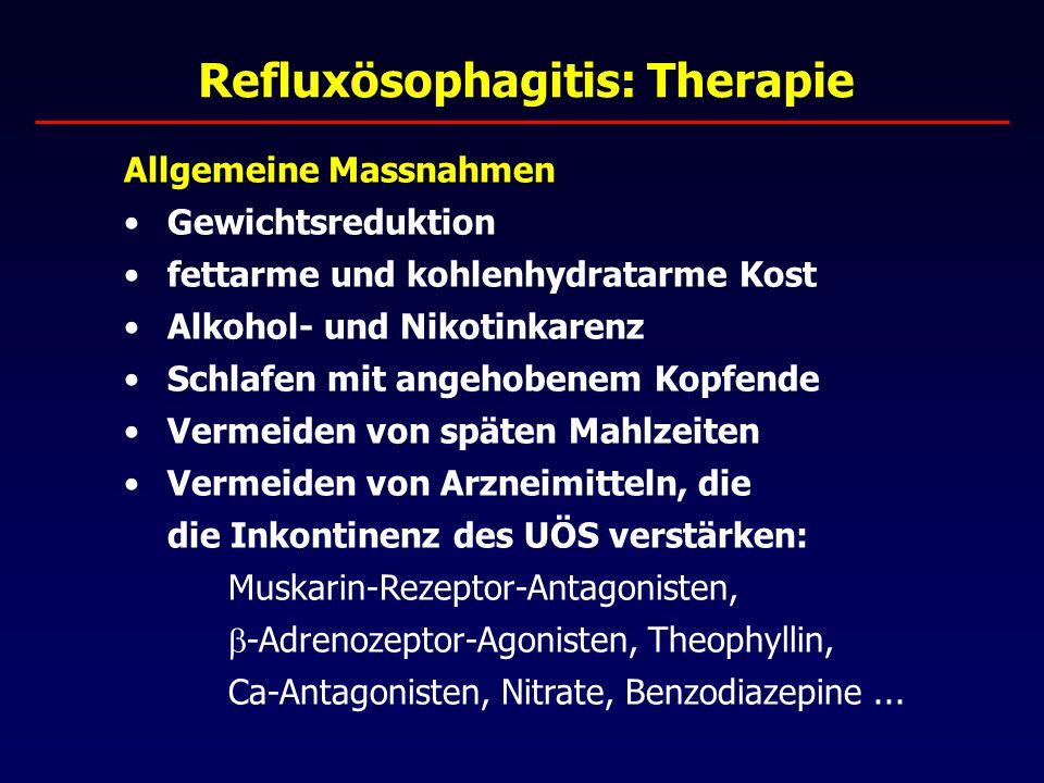 Refluxösophagitis: Therapie Allgemeine Massnahmen Gewichtsreduktion fettarme und kohlenhydratarme Kost Alkohol- und Nikotinkarenz Schlafen mit angehobenem Kopfende Vermeiden von späten Mahlzeiten Vermeiden von Arzneimitteln, die die Inkontinenz des UÖS verstärken: Muskarin-Rezeptor-Antagonisten,  -Adrenozeptor-Agonisten, Theophyllin, Ca-Antagonisten, Nitrate, Benzodiazepine...