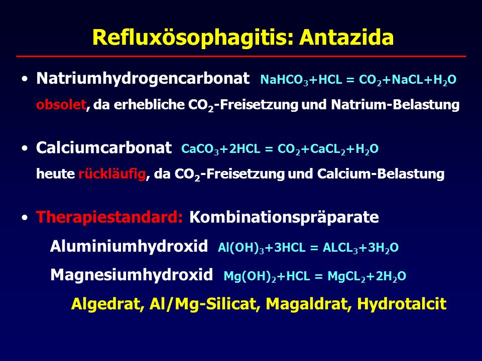 H 2 -Rezeptor-Antagonisten Wirkmechanismus kompetitive Hemmung der Histamin-vermittelten Säureproduktion (Gastrin und Acetylcholin) geringere Effizienz verglichen mit PPH Unerwünschte Arzneimittelwirkungen: zahlreich Transaminasen (GOT, GPT) , Kreatinin  ZNS-Störungen: Müdigkeit, Apathie, Halluzinationen Cimetidin: Gynäkomastie, Libido , Prolactin , CYP Standarddosierungen Ranitidin300 mg Nizatidin150 mg Famotidin 40 mg [Cimetidin 800 mg]