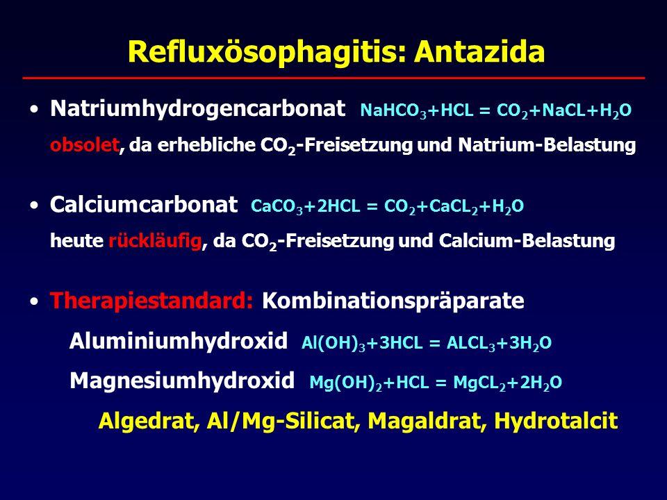 Refluxösophagitis: Antazida Natriumhydrogencarbonat NaHCO 3 +HCL = CO 2 +NaCL+H 2 O obsolet, da erhebliche CO 2 -Freisetzung und Natrium-Belastung Calciumcarbonat CaCO 3 +2HCL = CO 2 +CaCL 2 +H 2 O heute rückläufig, da CO 2 -Freisetzung und Calcium-Belastung Therapiestandard: Kombinationspräparate Aluminiumhydroxid Al(OH) 3 +3HCL = ALCL 3 +3H 2 O Magnesiumhydroxid Mg(OH) 2 +HCL = MgCL 2 +2H 2 O Algedrat, Al/Mg-Silicat, Magaldrat, Hydrotalcit