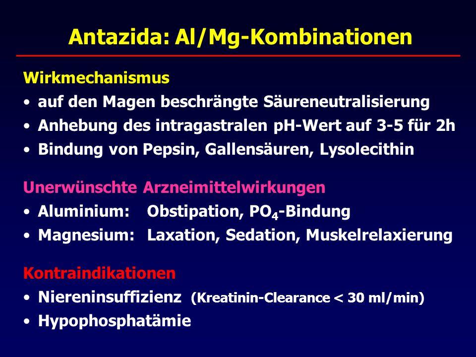 Antazida: Al/Mg-Kombinationen Wirkmechanismus auf den Magen beschrängte Säureneutralisierung Anhebung des intragastralen pH-Wert auf 3-5 für 2h Bindung von Pepsin, Gallensäuren, Lysolecithin Unerwünschte Arzneimittelwirkungen Aluminium: Obstipation, PO 4 -Bindung Magnesium:Laxation, Sedation, Muskelrelaxierung Kontraindikationen Niereninsuffizienz (Kreatinin-Clearance < 30 ml/min) Hypophosphatämie