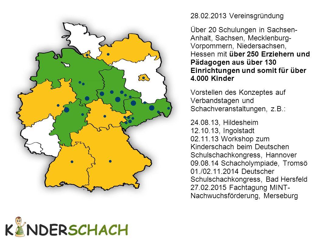 28.02.2013 Vereinsgründung Über 20 Schulungen in Sachsen- Anhalt, Sachsen, Mecklenburg- Vorpommern, Niedersachsen, Hessen mit über 250 Erziehern und P