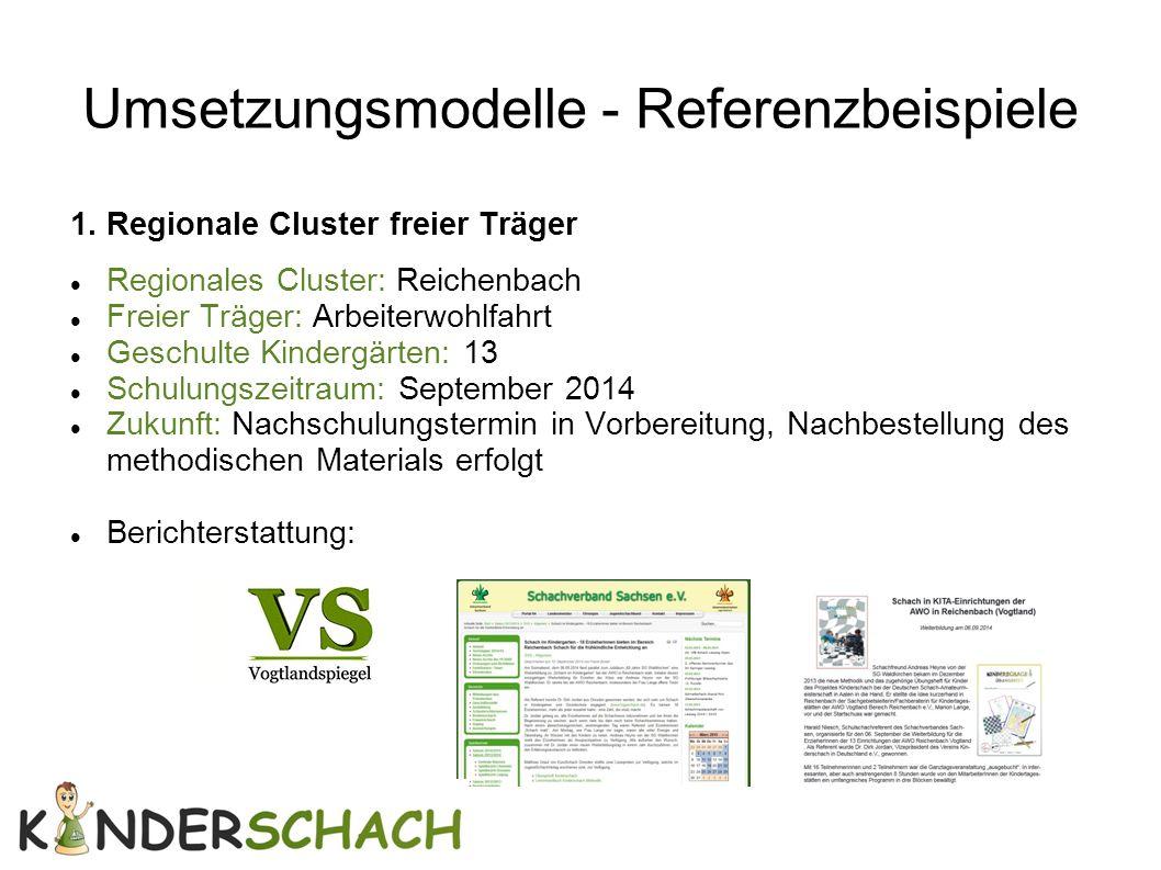 Umsetzungsmodelle - Referenzbeispiele 1. Regionale Cluster freier Träger Regionales Cluster: Reichenbach Freier Träger: Arbeiterwohlfahrt Geschulte Ki