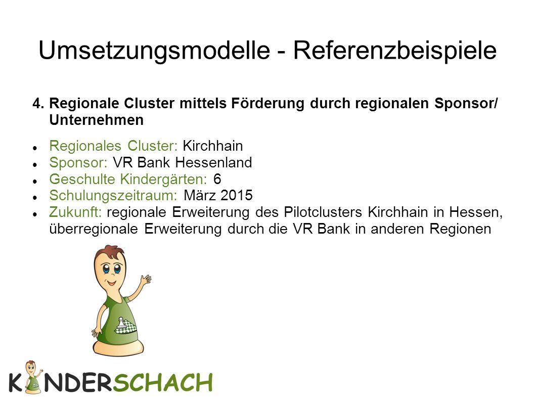 Umsetzungsmodelle - Referenzbeispiele 4. Regionale Cluster mittels Förderung durch regionalen Sponsor/ Unternehmen Regionales Cluster: Kirchhain Spons