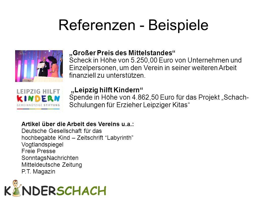 """Referenzen - Beispiele """"Großer Preis des Mittelstandes"""" Scheck in Höhe von 5.250,00 Euro von Unternehmen und Einzelpersonen, um den Verein in seiner w"""