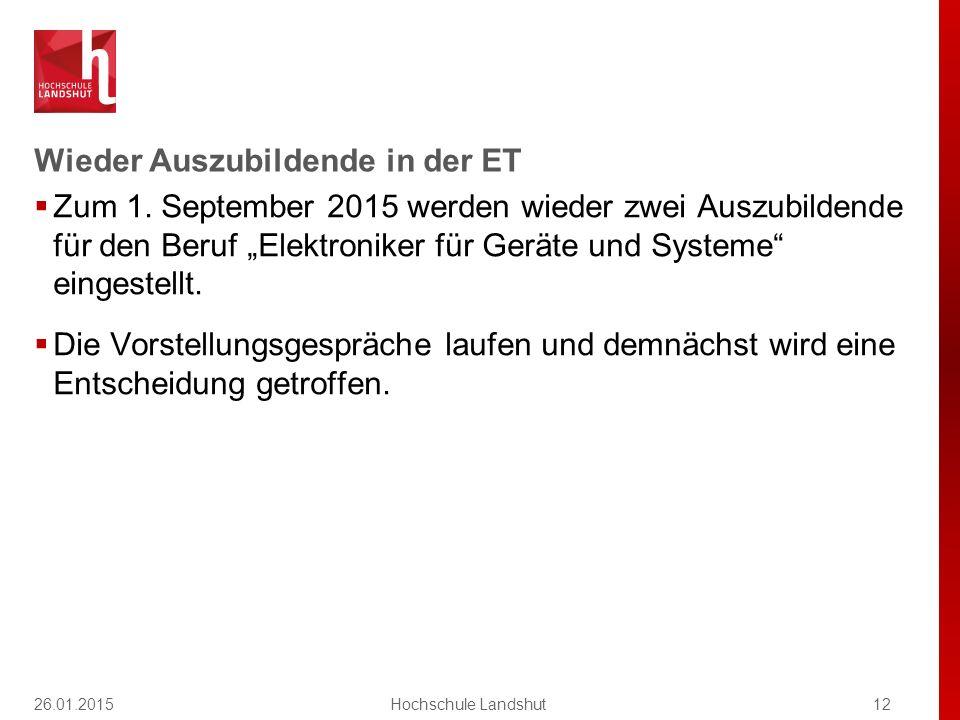 """Wieder Auszubildende in der ET  Zum 1. September 2015 werden wieder zwei Auszubildende für den Beruf """"Elektroniker für Geräte und Systeme"""" eingestell"""