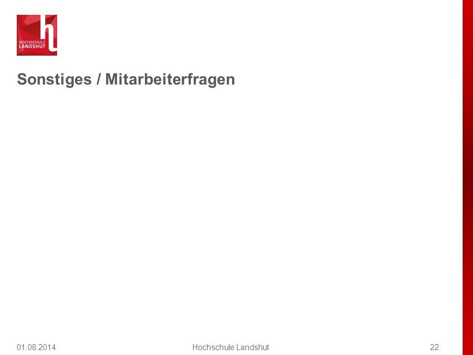 Sonstiges / Mitarbeiterfragen 01.08.201422Hochschule Landshut