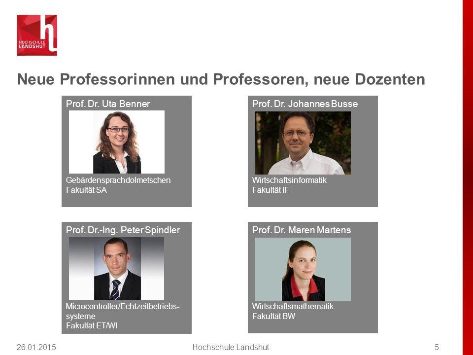 Neue Professorinnen und Professoren, neue Dozenten 5Hochschule Landshut Prof. Dr. Uta Benner Gebärdensprachdolmetschen Fakultät SA Prof. Dr. Maren Mar