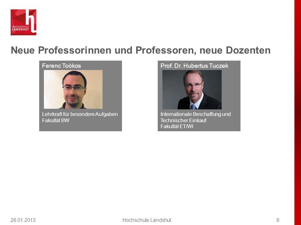 Neue Professorinnen und Professoren, neue Dozenten 6Hochschule Landshut Ferenc Toòkos Lehrkraft für besondere Aufgaben Fakultät BW Prof. Dr. Hubertus