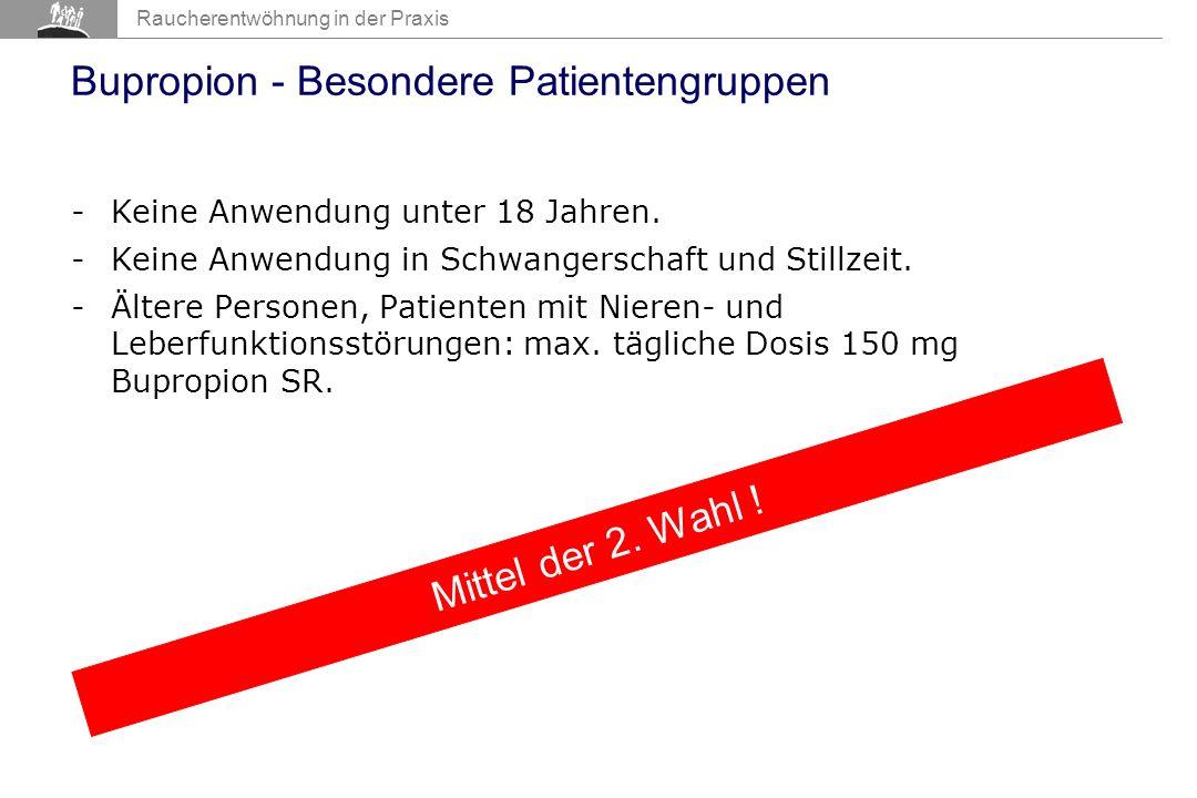 AIR 2007 Raucherentwöhnung in der Praxis Bupropion - Besondere Patientengruppen -Keine Anwendung unter 18 Jahren.
