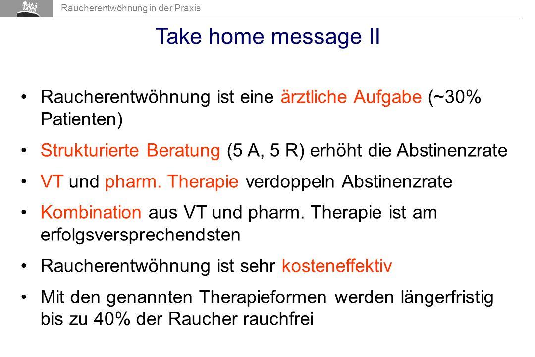 Raucherentwöhnung in der Praxis Take home message II Raucherentwöhnung ist eine ärztliche Aufgabe (~30% Patienten) Strukturierte Beratung (5 A, 5 R) erhöht die Abstinenzrate VT und pharm.