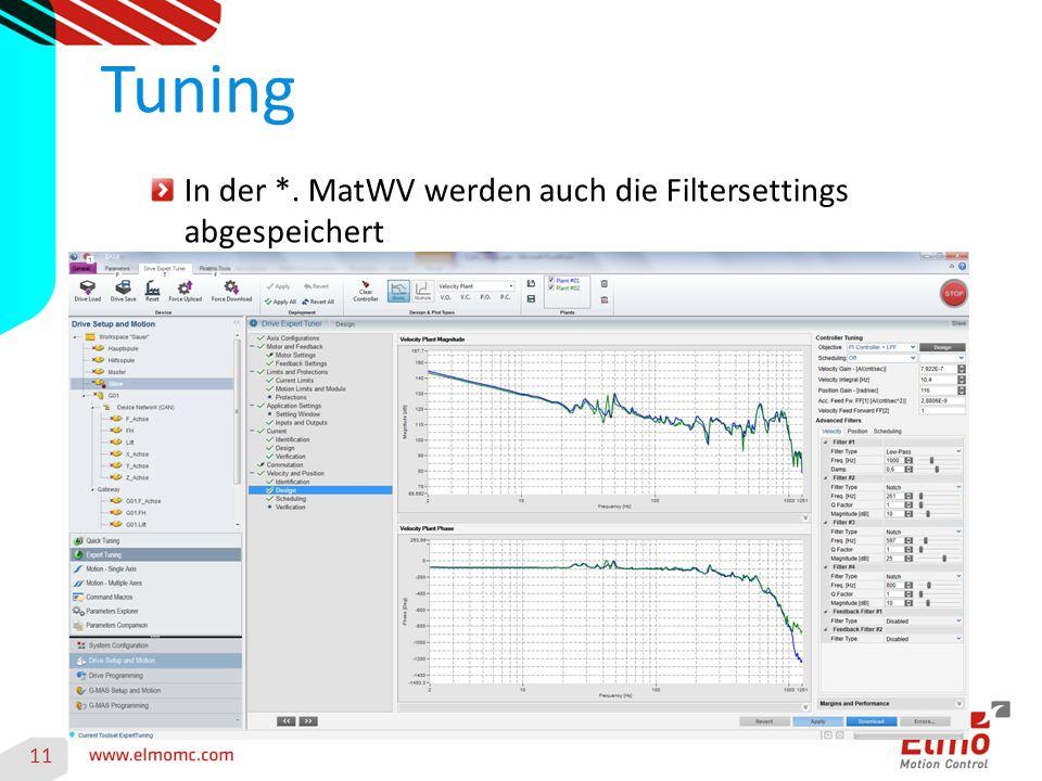 In der *. MatWV werden auch die Filtersettings abgespeichert Tuning 11
