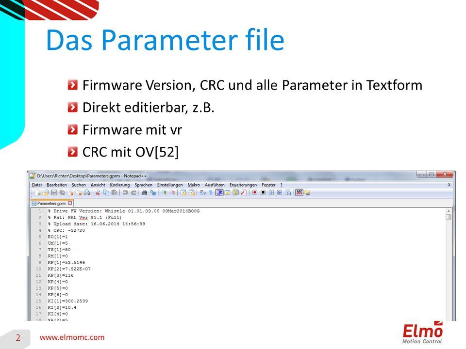 Firmware Version, CRC und alle Parameter in Textform Direkt editierbar, z.B.