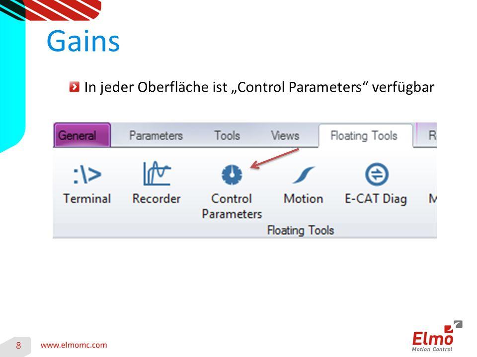 """In jeder Oberfläche ist """"Control Parameters verfügbar Gains 8"""