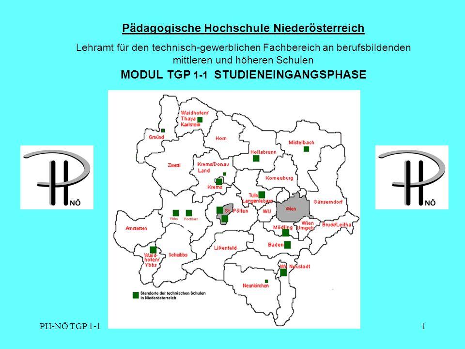 PH-NÖ TGP 1-11 Pädagogische Hochschule Niederösterreich Lehramt für den technisch-gewerblichen Fachbereich an berufsbildenden mittleren und höheren Schulen MODUL TGP 1-1 STUDIENEINGANGSPHASE