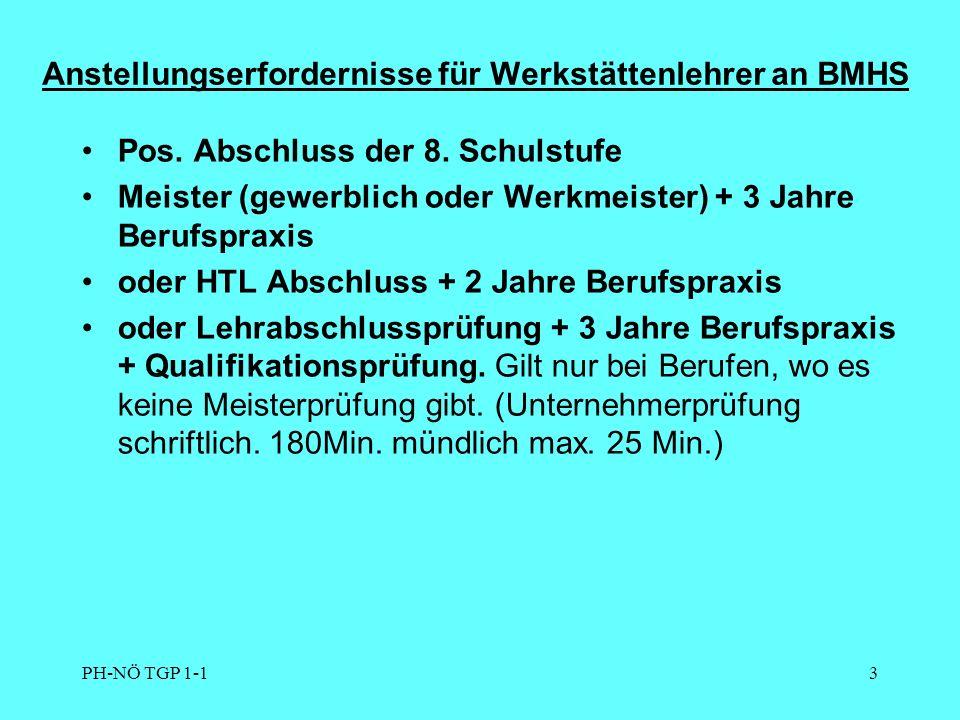 PH-NÖ TGP 1-13 Anstellungserfordernisse für Werkstättenlehrer an BMHS Pos.