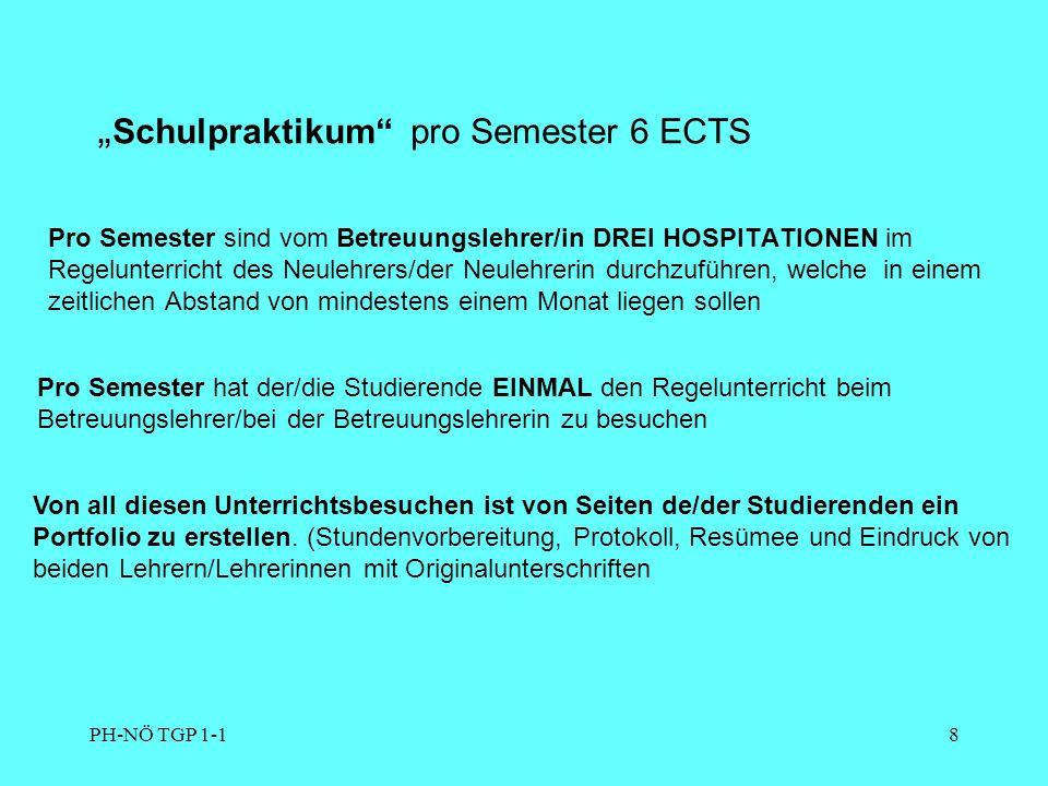 PH-NÖ TGP 1-19 Der Studienerfolg (Erwerb von ECTS-Credits) ist ausschließlich durch Leistungsnachweise festzustellen.