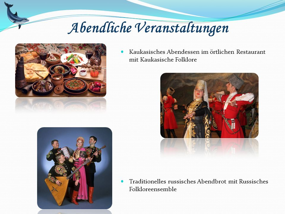 Abendliche Veranstaltungen Kaukasisches Abendessen im örtlichen Restaurant mit Kaukasische Folklore Traditionelles russisches Abendbrot mit Russisches