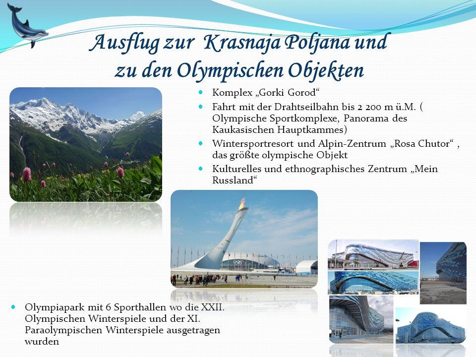 Ausflug zur Krasnaja Poljana und zu den Olympischen Objekten Olympiapark mit 6 Sporthallen wo die XXII. Olympischen Winterspiele und der XI. Paraolymp