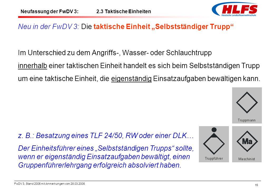 """FwDV 3, Stand 2005 mit Anmerkungen vom 28.03.2006 15 Neu in der FwDV 3: Die taktische Einheit """"Selbstständiger Trupp"""" Im Unterschied zu dem Angriffs-,"""