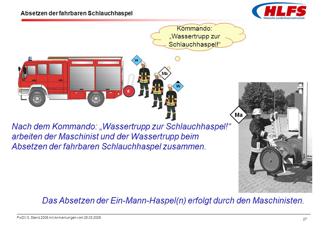 FwDV 3, Stand 2005 mit Anmerkungen vom 28.03.2006 27 Absetzen der fahrbaren Schlauchhaspel Das Absetzen der Ein-Mann-Haspel(n) erfolgt durch den Masch