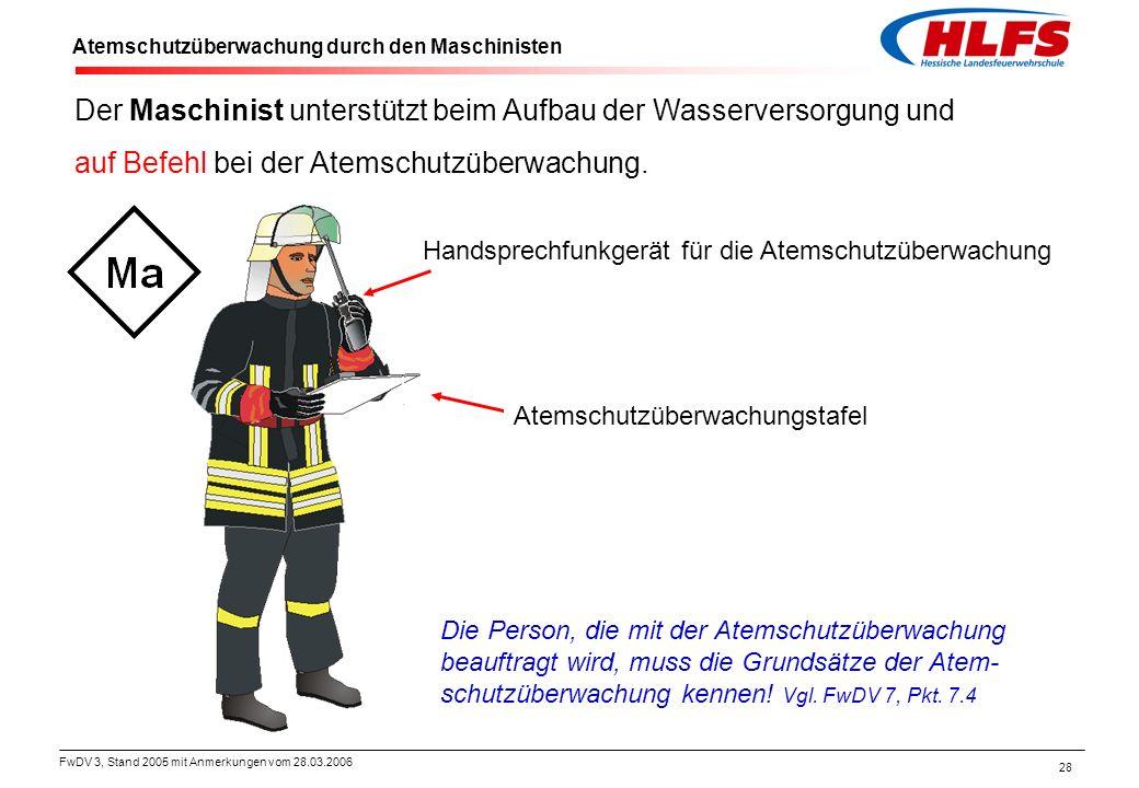 FwDV 3, Stand 2005 mit Anmerkungen vom 28.03.2006 28 Atemschutzüberwachung durch den Maschinisten Handsprechfunkgerät für die Atemschutzüberwachung De