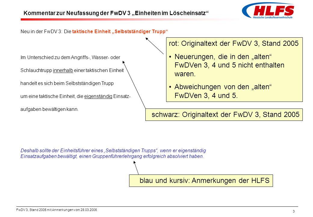 FwDV 3, Stand 2005 mit Anmerkungen vom 28.03.2006 44 Neufassung der FwDV 3: 5.3 Einsatzablauf Neu in der FwDV 3: Einsatzgrundsätze a)Die Funktionen für Angriffs- und für den Wassertrupp sollen mit Atemschutzgeräteträgern besetzt sein.