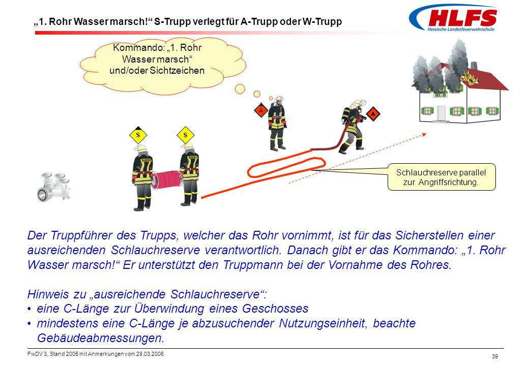 """FwDV 3, Stand 2005 mit Anmerkungen vom 28.03.2006 39 """"1. Rohr Wasser marsch!"""" S-Trupp verlegt für A-Trupp oder W-Trupp Schlauchreserve parallel zur An"""