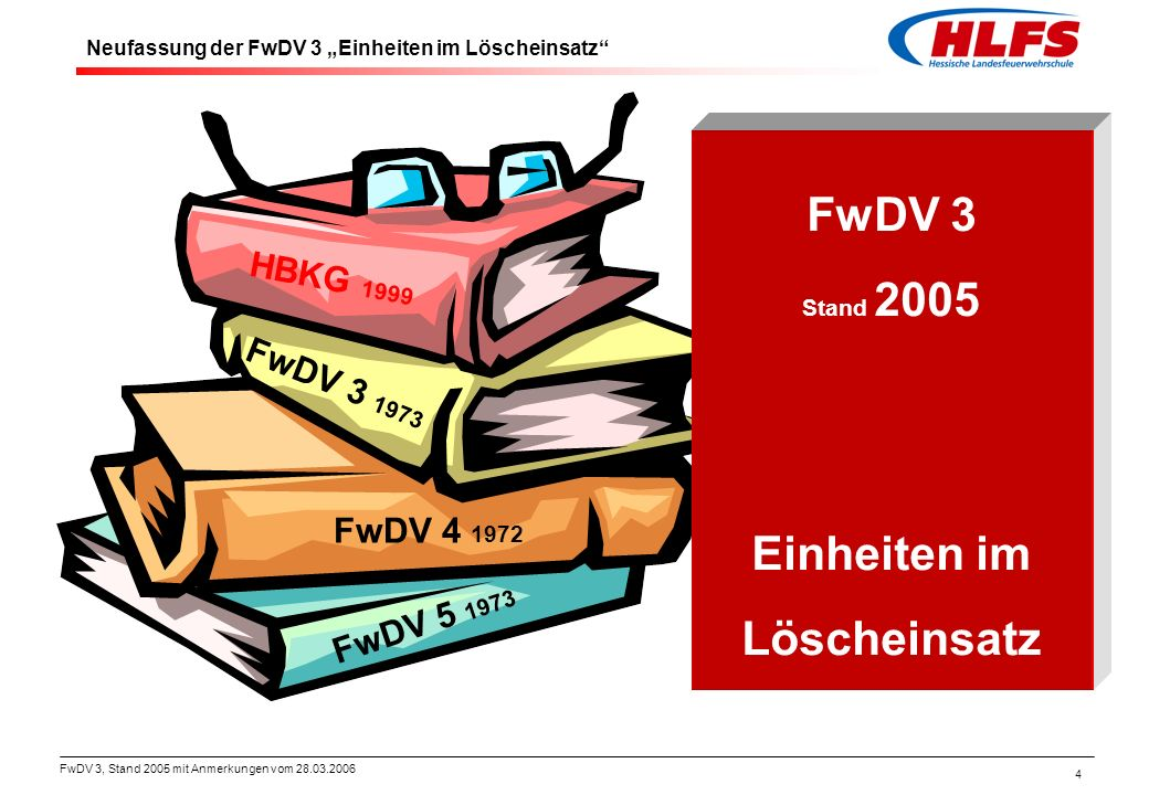 FwDV 3, Stand 2005 mit Anmerkungen vom 28.03.2006 4 HBKG 1999 FwDV 3 1973 FwDV 4 1972 FwDV 5 1973 FwDV 3 Stand 2005 Einheiten im Löscheinsatz Neufassu